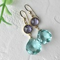 Color Glass Charm Quartz Pierced Earring