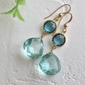 Blue-Color Glass Charm Quartz Pierced Earring
