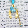 Good Luck Horseshoe Accessory Heart Stone Attached Gold Horseshoe Gold Charm Blue Stone