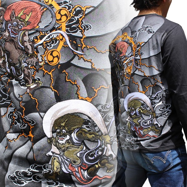 2018 A/W Japanese Pattern Embroidery Long Sleeve T-shirt Tattoo ...