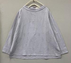 綿刺繍ボタニカル柄ブラウス