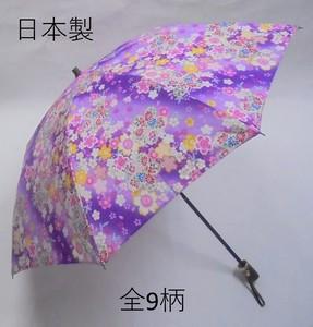 <日本製>和柄プリント 綿100% 晴雨兼用折傘
