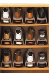 省スペース靴収納1/2 (5個組) ブラウン ホワイト 靴箱 下駄箱 整理 収納