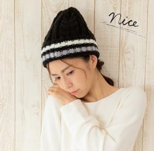 リブ編みボーダーニット帽