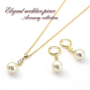 Cubic Zirconia Fake Pearl Gold Necklace Pierced Earring Sales To Pieces