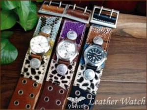 Leather pin Multi Patch Watch Made in Japan