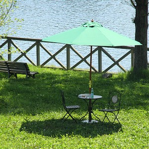 Garden Wooden Beach Parasol Green Blue Red Ivory