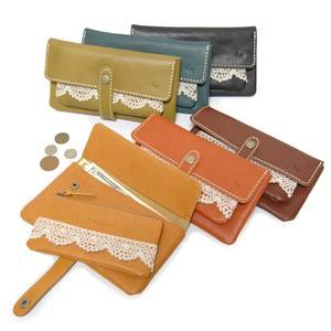 Natural Leather Lace Long Wallet