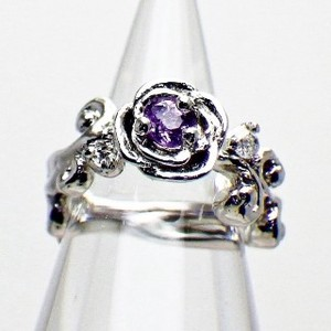 Silver 925 Flower Motif Amethyst Diamond Baby Ring Necklace