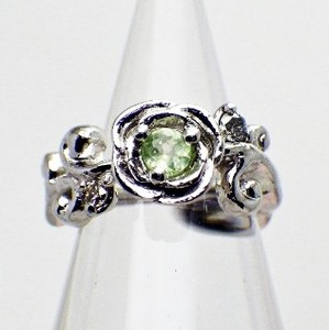 Silver 925 Flower Motif Peridot Diamond Baby Ring Necklace