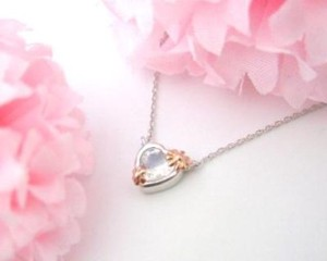 Silver 925 Lovely Pink Flower Heart Moon stone Pendant