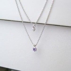 Silver 925 Birthstone Amethyst Natural Diamond Double Happy Pendant