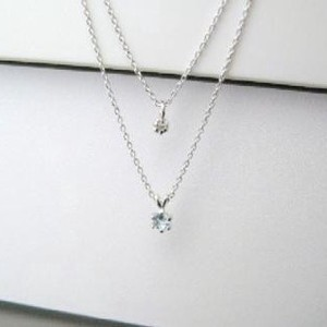 Silver 925 Birthstone Aquamarine Natural Diamond Double Happy Pendant