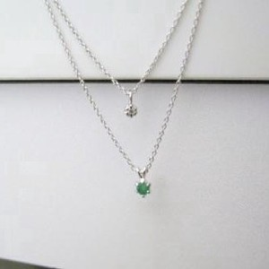 Silver 925 Made in Japan Birthstone Emerald Natural Diamond Double Happy Pendant