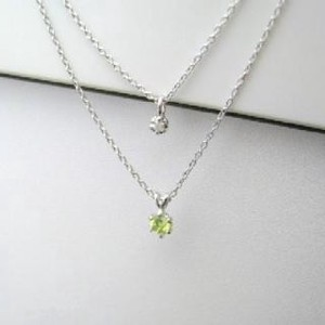 Silver 925 Birthstone Peridot Natural Diamond Double Happy Pendant