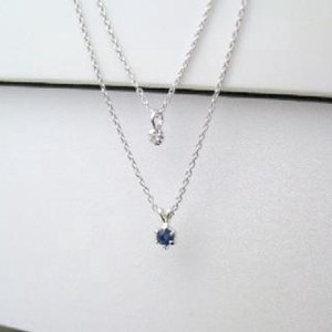 Silver 925 Made in Japan Birthstone Sapphire Natural Diamond Double Happy Pendant