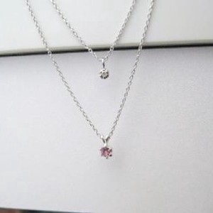 Silver 925 Made in Japan Birthstone Pink Tourmaline Natural Diamond Double Happy Pendant