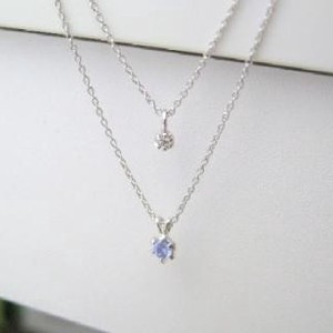 Silver 925 Birthstone Tanzanite Natural Diamond Double Happy Pendant