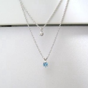 Silver 925 Birthstone Blue Topaz Natural Diamond Double Happy Pendant