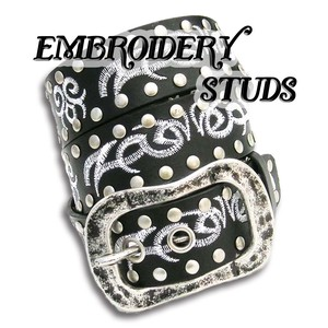 Embroidery crimp Belt Men's Studs Belt