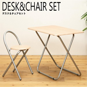 Folded Desk & Chair Set Scandinavian Style Natural Office Wooden Finished Product
