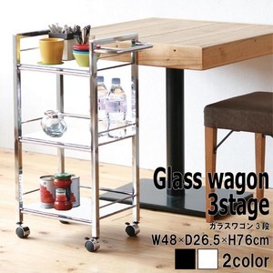 Glass Wagon 3 Steps Colorful Wagon Storage Kitchen Iron Beauty Slim Caster