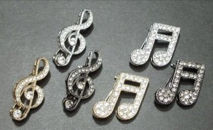 Rhinestone Brooch Music Series Musical Note Treble Clef 6/10Length Musical Note