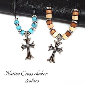 Men's Choker Closs Turquoise Color Wood Parts