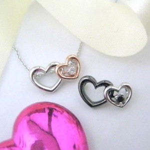 Silver 925 Lovely Double Heart Natural Diamond Pendant