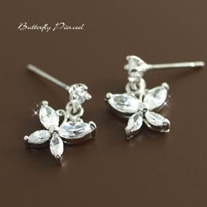 Stainless Post Butterfly Pierced Earring Cubic Zirconia