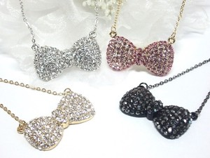 Rhinestone Lovely Ribbon Necklace