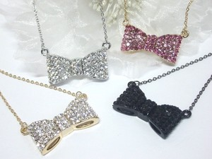 Rhinestone Lovely Ribbon Necklace sharp Style