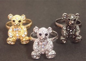 Rhinestone Lovely Bear Ring
