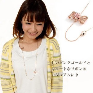 VAJRA Lady Pink Gold Ribbon Long Necklace