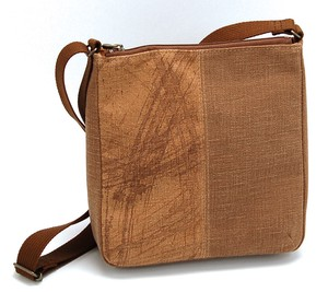 Persimmon -Dyed Hand-Painted Single Fastener Shoulder Bag
