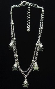 Anklet Rhinestone Attached Skull Double