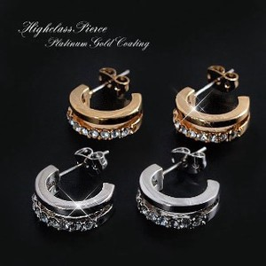 Titanium Post Adult Crystal Pierced Earring Design Ring Pierced Earring Gold Silver