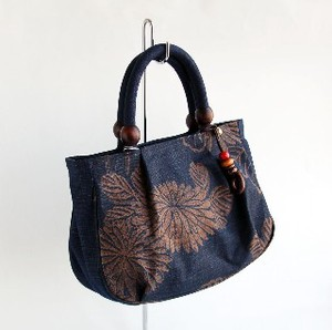 Persimmon Tannin Dyeing Mallon Blue Handbag Bag Japanese Pattern