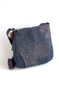 Persimmon Tannin Dyeing Crepe Shoulder Bag Japanese Pattern