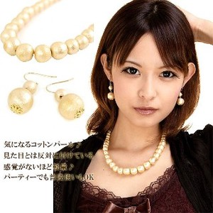 VAJRA Made in Japan Material Cotton Pearl Necklace Pierced Earring Gold Party