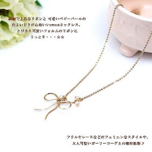 Made in Japan Otome Motif Freshwater Pearl Ribbon Necklace Pearl 20
