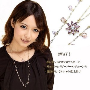 VAJRA Made in Japan 3WAY Crystal Use Flower Set Of 2 Necklace Gold