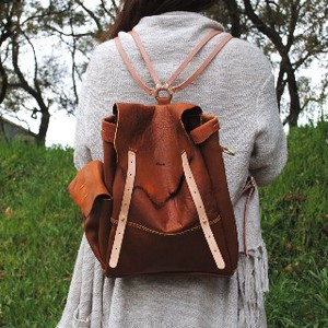 All Leather Natural Backpack Backpack