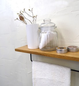 Iron Towel Hanger Attached Shelf