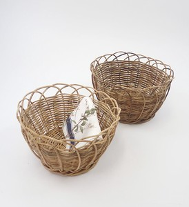THE AROROG Round Basket Natural Antique