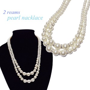 Stone Attached Double Pearl Necklace Accessory