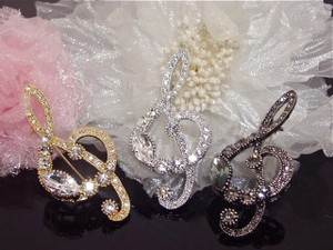 Rhinestone Treble Clef Brooch Music Series