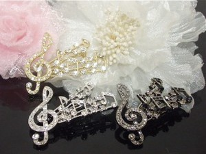 Rhinestone Musical Note Brooch Score Music Series
