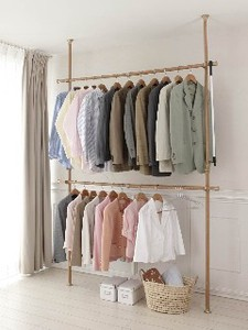 Easy Tightly Pole Clothes Hanger Type Wood Grain