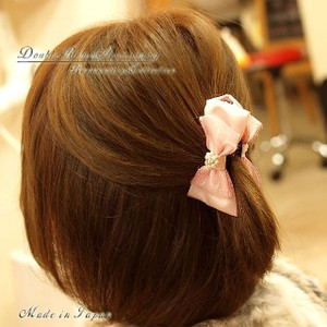 Accessory Pearl Rhinestone Double Ribbon Banana Clip